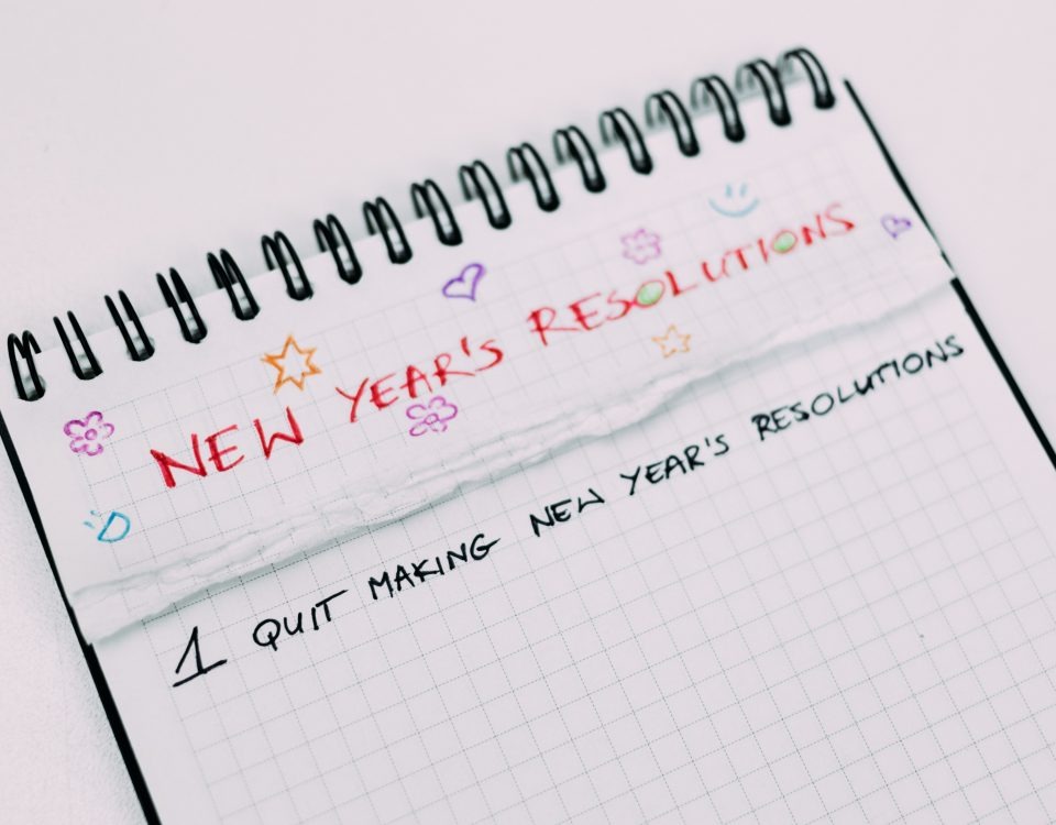 "Notepad titled ""New Year's Resolutions."" The only resolution is to ""Stop Making New Year's Resolutions."""